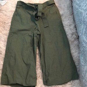 J Crew tie waist cropped wide leg pant